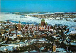 Postcard Modern Quebec Quebec A partial view of the tip of Levis and Ile d'Or...