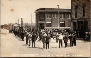 Stockton KS~IOOF Odd Fellows 93th Anniversary Street Band~Racket Store~1912 RPPC