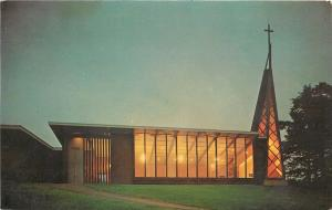 Oceanlake Oregon~Congregational Church~Night Lights~1950s Postcard