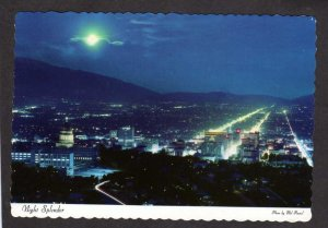 UT Night View Salt Lake City Utah Buildings Postcard