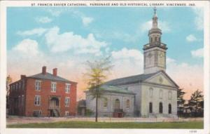 Indiana Vincennes St Francis Xavier Cathedral Parsonage and Old Historical Li...