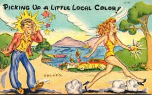 Humour Girl Hitting Man Picking Up A Little Local Color