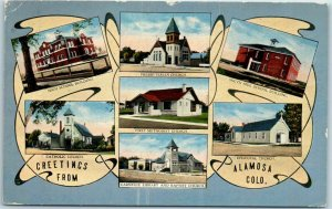 1921 GREETINGS from ALAMOSA Colorado Postcard Multi-View Churches & Schools