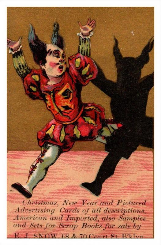 13418    Trade card  NY  Brooklyn E.J.Snow Co, Clown and Shadow