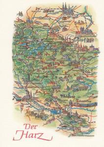 Der Harz Halberstadt Nordhausen German Germany Transport Karte Map Postcard