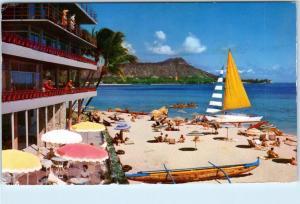 HONOLULU, HI Hawaii    The REEF HOTEL on WAIKIKI  Boats, Beach  1963    Postcard
