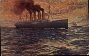 German Steamship Kaiser Wilhelm II c1905 Postcard