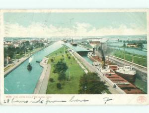 Pre-1907 SHIP BOATS IN LOCK Sault Ste. Marie Michigan MI n5973
