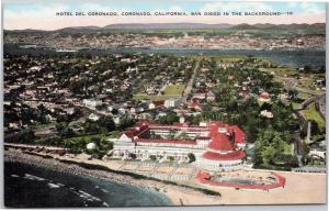 Hotel Del Coronado, California, aerial with San Diego in background