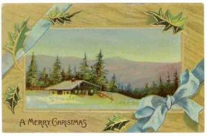 Vintage Christmas Greetings PC, A Country House on a Hilltop in Winter, 1912