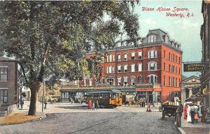 Westerly RI Dixon House Square Trolley Drug Store Postcard