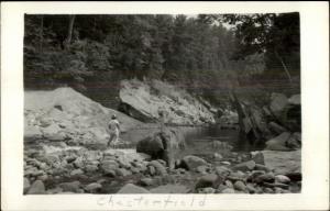 Chesterfield MA Woman on Rocks at River Real Photo Postcard
