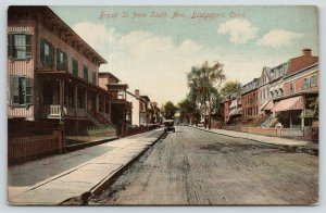 Bridgeport CT~Broad Street From South Avenue~Row Houses~Apartments~1915 Postcard