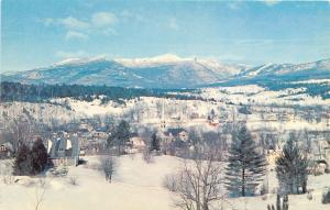 Stowe Vermont~Mt Mansfield Snow Ski Area~Town View~1950-60s Postcard