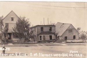 RP: LORAIN , Ohio , 1924 ; Wrecked Homes on E. Erie Street