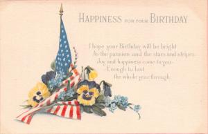 WWI Patriotic Birthday~Pansies Surround US Flag~Bright as Stars & Stripes~1919
