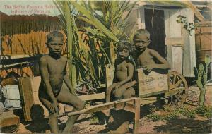 1909 Canal Zone Postmark On Nude Panama Boys Panama Railroad Postcard