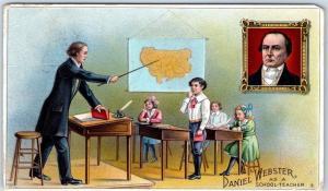 Advertising Postcard WEBSTER CIGARS Daniel Webster as a School-Teacher 1913