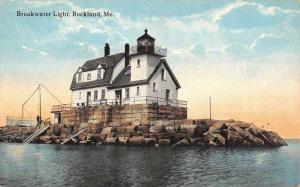 Rockland Maine Breakwater Light House Antique Postcard K56547