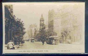 pc10547 postcard Melbourne Victoria Australia RPPC Collins Street MOBSC