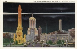CHICAGO, Illinois, 1910-20s; Old Water Tower & Palmolive Bldg., By Night