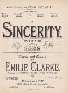 Sincerity Emilie Clarke Olde Sheet Music