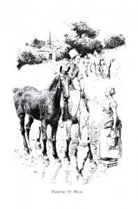 Postcard Art Sketch Watering the Horses by Hugh Thomson J90