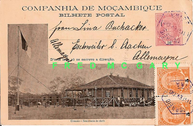 1906 Mozambique CO. PC: Chimolo Chief's Hut, Stamps Added For Rate To Germany