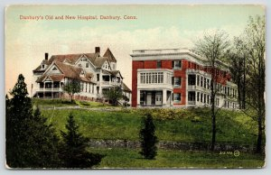 Danbury Connecticut~Victorian Old And New Hospitals Front by Side~1908 Postcard