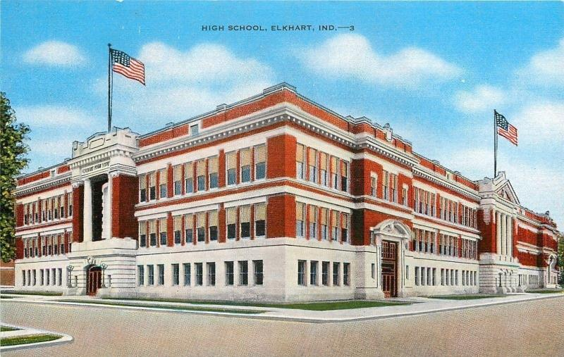 Elkhart Indiana~High School Building Corner View~Flags on Roof 1940 Linen PC