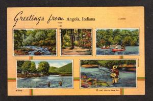 IN Greetings ANGOLA INDIANA Postcard Fishing Linen PC
