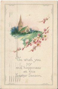 Vintage Postcard Decorated for Easter with an old Country Church in Springtime