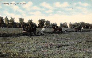Mowing Alfalfa Hay Farming Washington 1910c postcard