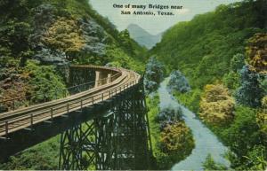 One Of Many Bridges ~ Near San Antonio Texas TX ~ Vintage Bridge Postcard