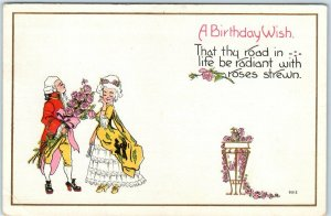 BIRTHDAY WISH Postcard  That Thy Road in Life be Radiant with Roses Strewn