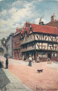 Lincoln England~A Quaint Corner in Old Lincoln~Dog Crosses Street~TUCK #7231