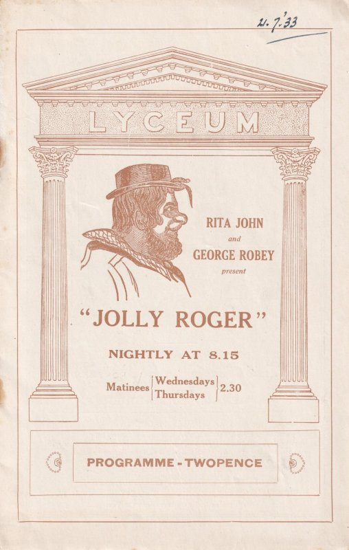 Jolly Roger George Robey Musical Burlesque Lyceum Old Theatre Programme