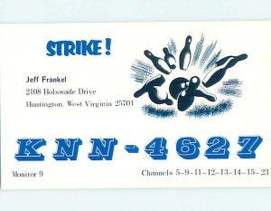 Pre-1980 RADIO CARD - CB HAM OR QSL Huntington West Virginia WV AH0728