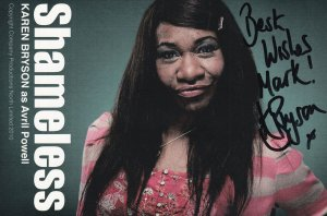 Karen Bryson as Avril Powell in Shameless Large Hand Signed Cast Card Photo