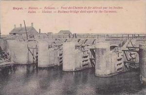 Belgium Heyst Ruines Ecluses Pont du Chemin de fer detruit par les boches