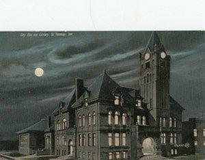ST. THOMAS, Ontario, Canada, 1900-10s ; City Hall & Library at night