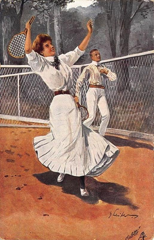Raphael Tuck Tennis Playing Man & Woman Signed Von Hans Leiter Postcard