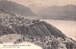 Switzerland Old Vintage Antique Post Card Glion vue generale et la Dent du Mi...