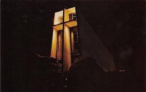 Sedona Arizona~Chapel of the Holy Cross~Night Lights~1950s Postcard