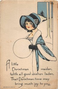 F88/ Merry Christmas Holiday Postcard c1910 Woman Muff Maiden 6