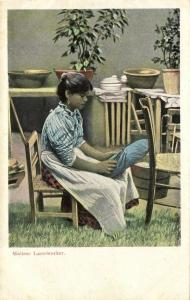 malta, Beautiful Maltese Lace-Worker Girl (1899) Postcard
