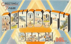 H76/ Rehobeth Delaware Postcard Linen Greetings from Rehobeth Beach 108