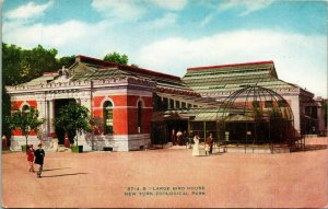 Vtg Postcard 1910s New York NY Zoological Park Large Bird House NYZP Unused