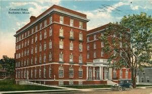 ROCHESTER MN COLONIAL HOTEL POSTCARD c1923 OLD CAR IN FRONT