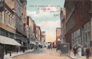 LPS45 St. Joseph Missouri Felix St. looking East from 5th Avenue Postcard